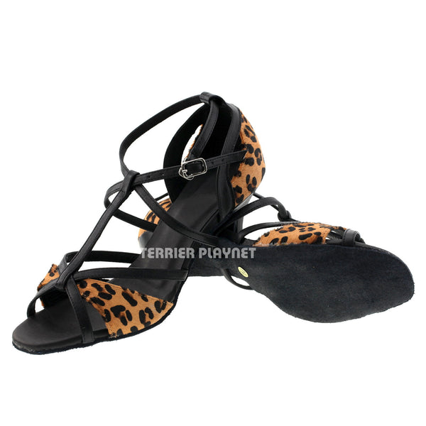 Limited Edition High Quality Black Leather & Leopard Pattern Fur Women Dance Shoes D999