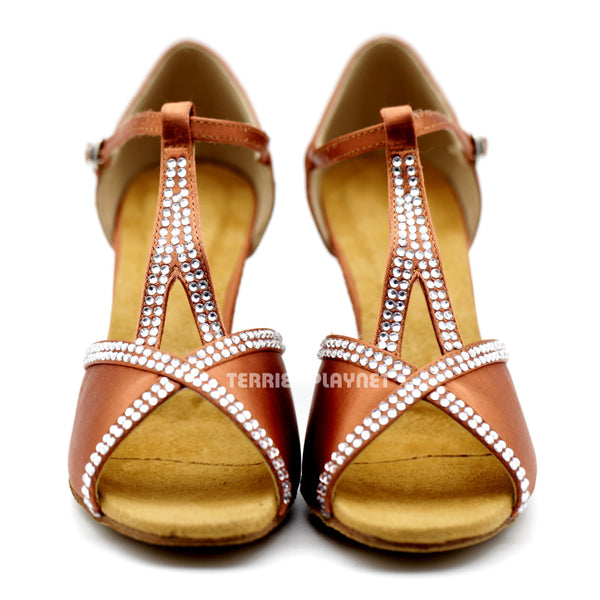 Dark Tan Women Rhinestone Dance Shoes Q102