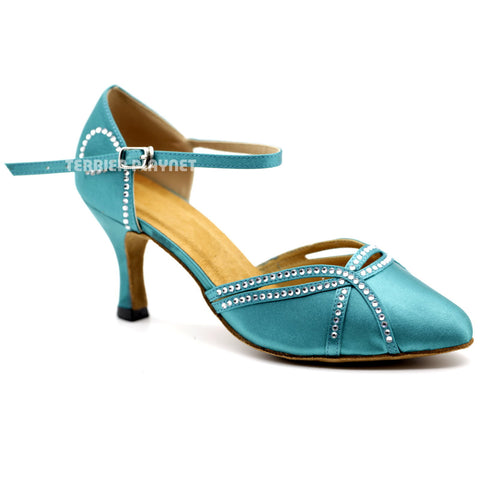 Turquoise Women Rhinestone Dance Shoes Q118