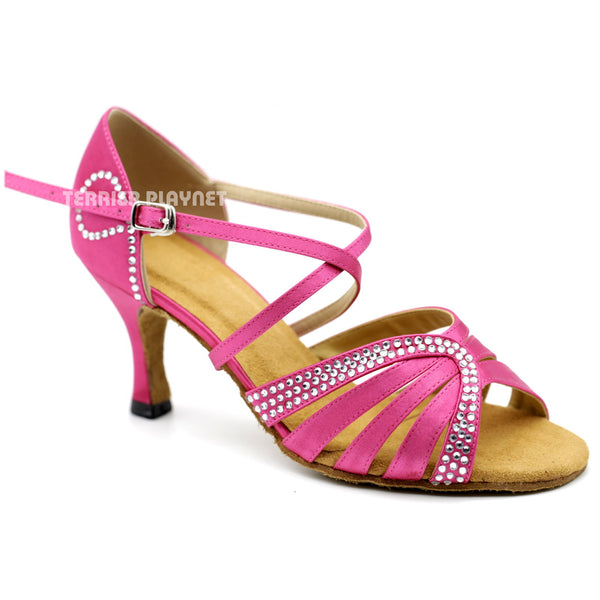 Hot Pink Women Rhinestone Dance Shoes Q127