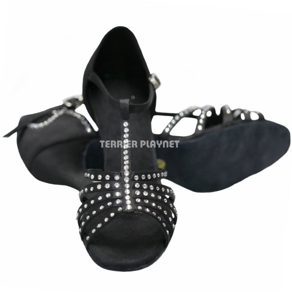 Black Women Rhinestone Dance Shoes Q12