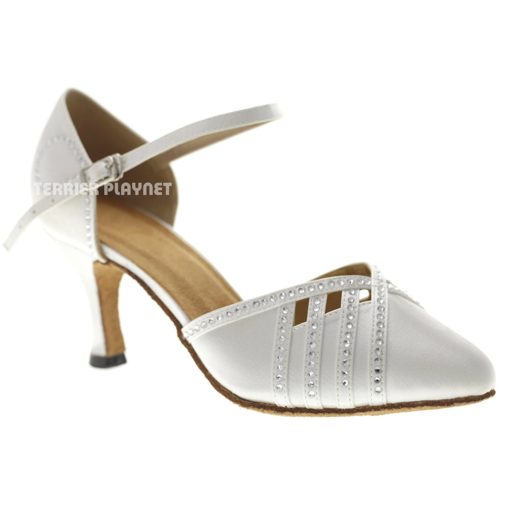 White Women Rhinestone Dance Shoes Q134