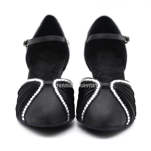 Black Women Rhinestone Dance Shoes Q140