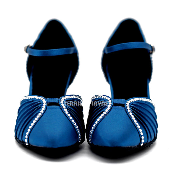 Blue Women Rhinestone Dance Shoes Q141