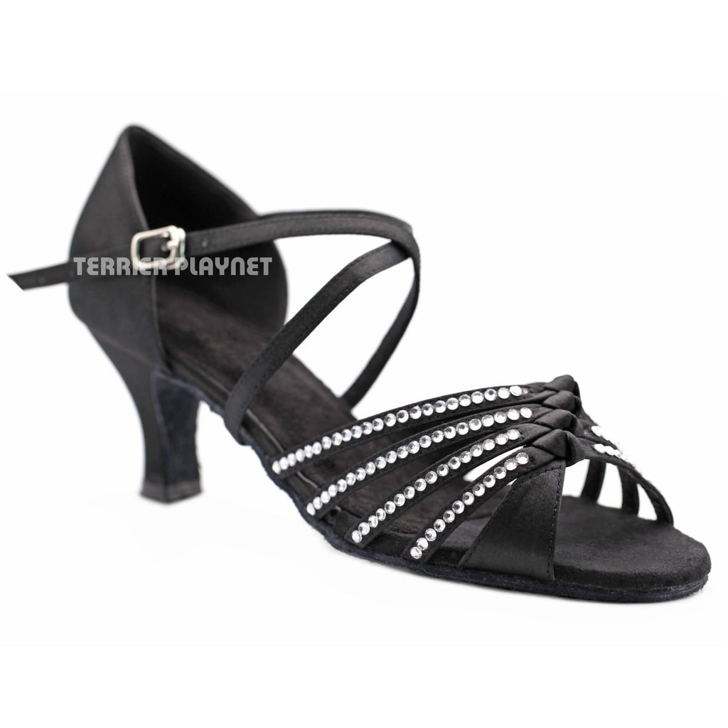 Black Women Rhinestone Dance Shoes Q150 - Terrier Playnet Shop