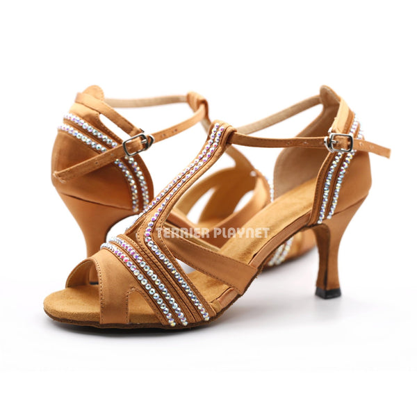 Tan Women Rhinestone Dance Shoes Q156