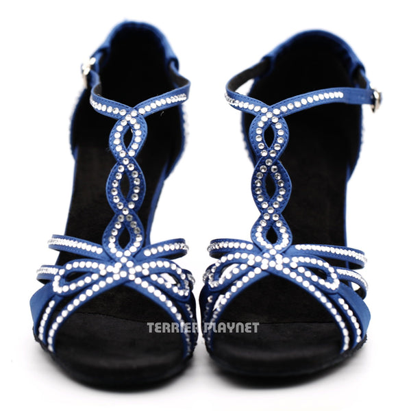 Blue Women Rhinestone Dance Shoes Q162 - Terrier Playnet Shop