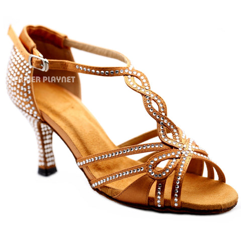 Tan Women Rhinestone Dance Shoes Q164