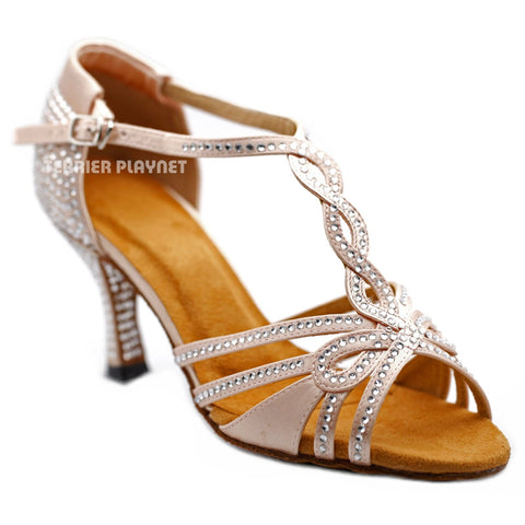 Flesh Women Rhinestone Dance Shoes Q166
