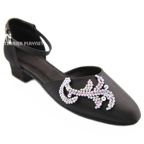 Black Women Rhinestone Dance Shoes Q176P