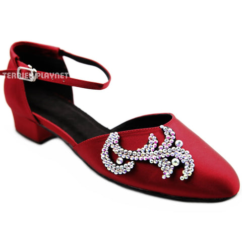 Deep Red Women Rhinestone Dance Shoes Q177P