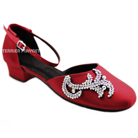 Deep Red Women Rhinestone Dance Shoes Q177R