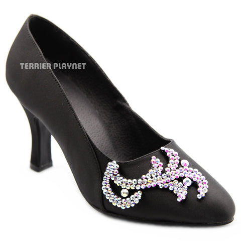 Black Women Rhinestone Dance Shoes Q178