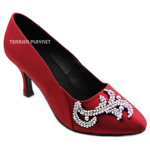 Deep Red Women Rhinestone Dance Shoes Q179
