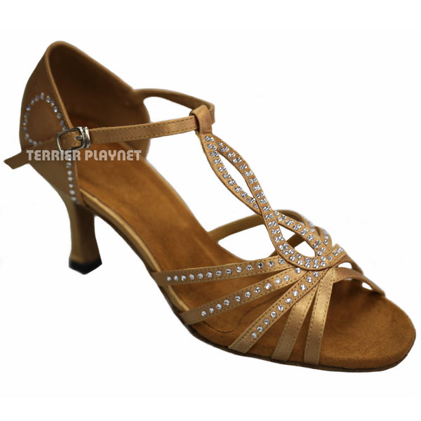 Gold Women Rhinestone Dance Shoes Q23