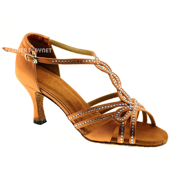 Tan Women Rhinestone Dance Shoes Q31