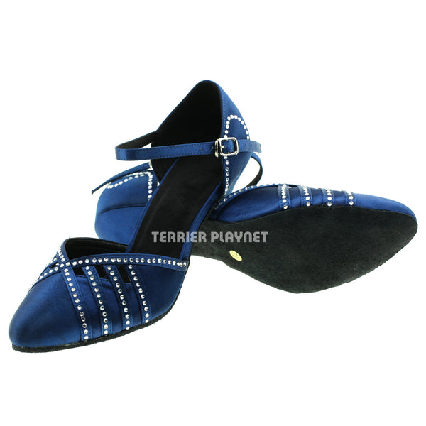 Blue Women Rhinestone Dance Shoes Q34