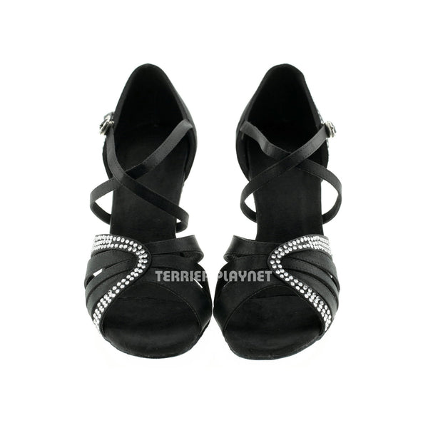 Black Women Rhinestone Dance Shoes Q37