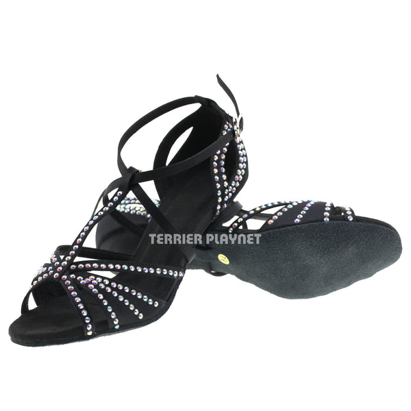 Black Women Rhinestone Dance Shoes Q47