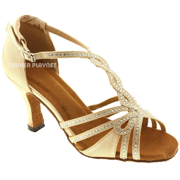 Cream Women Rhinestone Dance Shoes Q61