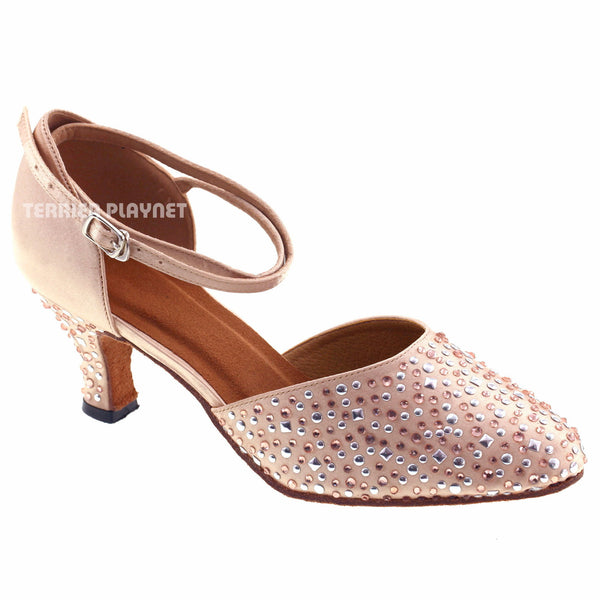 Cream Women Rhinestone & Studded Dance Shoes Q62