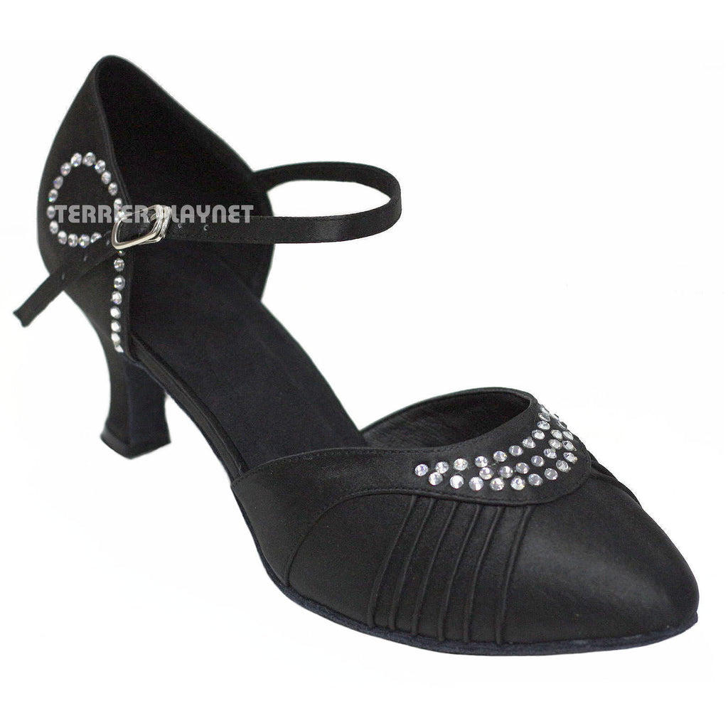 Black Women Rhinestone Dance Shoes Q6