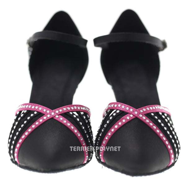 Black & Hot Pink Women Rhinestone Dance Shoes Q85