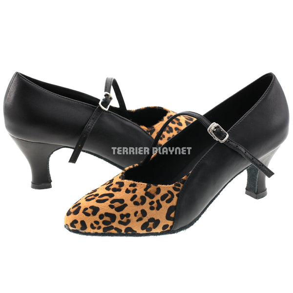 Limited Edition High Quality Black Leather & Leopard Pattern Fur Women Dance Shoes D523