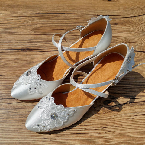 White Swarovski Crystals Lace Women Dance Shoes W001