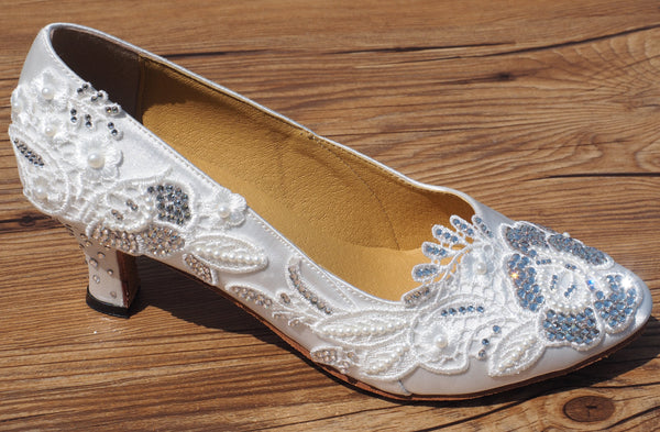 White Swarovski Crystals Lace Women Dance Shoes W002