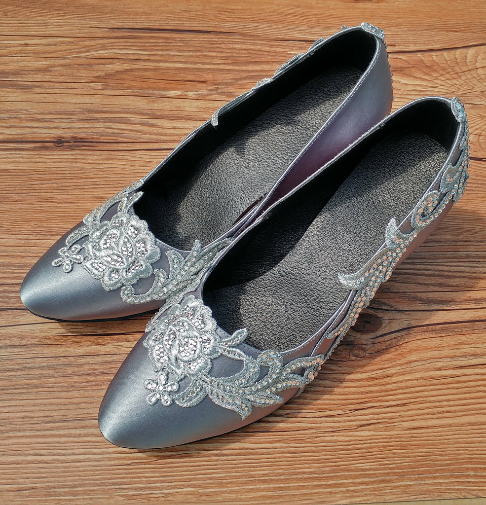 Gray Swarovski Crystals Lace Women Dance Shoes W005