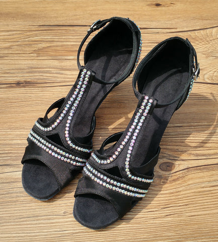 Black Swarovski Crystals Women Dance Shoes W006