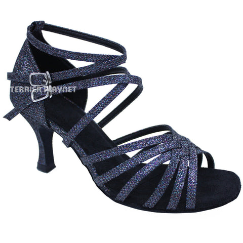 Black & Multi-Colour Women Dance Shoes D659