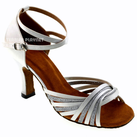 White & Silver Women Dance Shoes D976