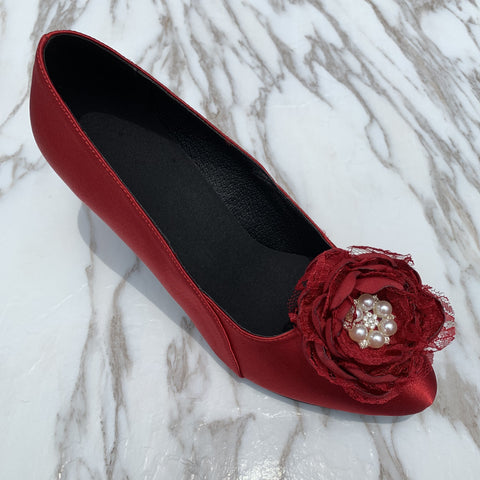 Deep Red Lace & Satin Flower Women Dance Shoes W027