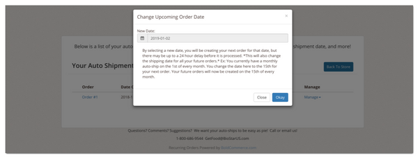 Updating your shipping dates
