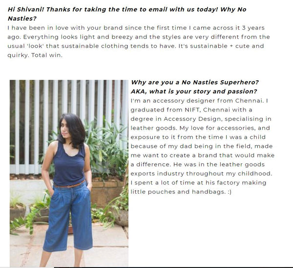Sustainable brand Arture founder - Shivani Patel