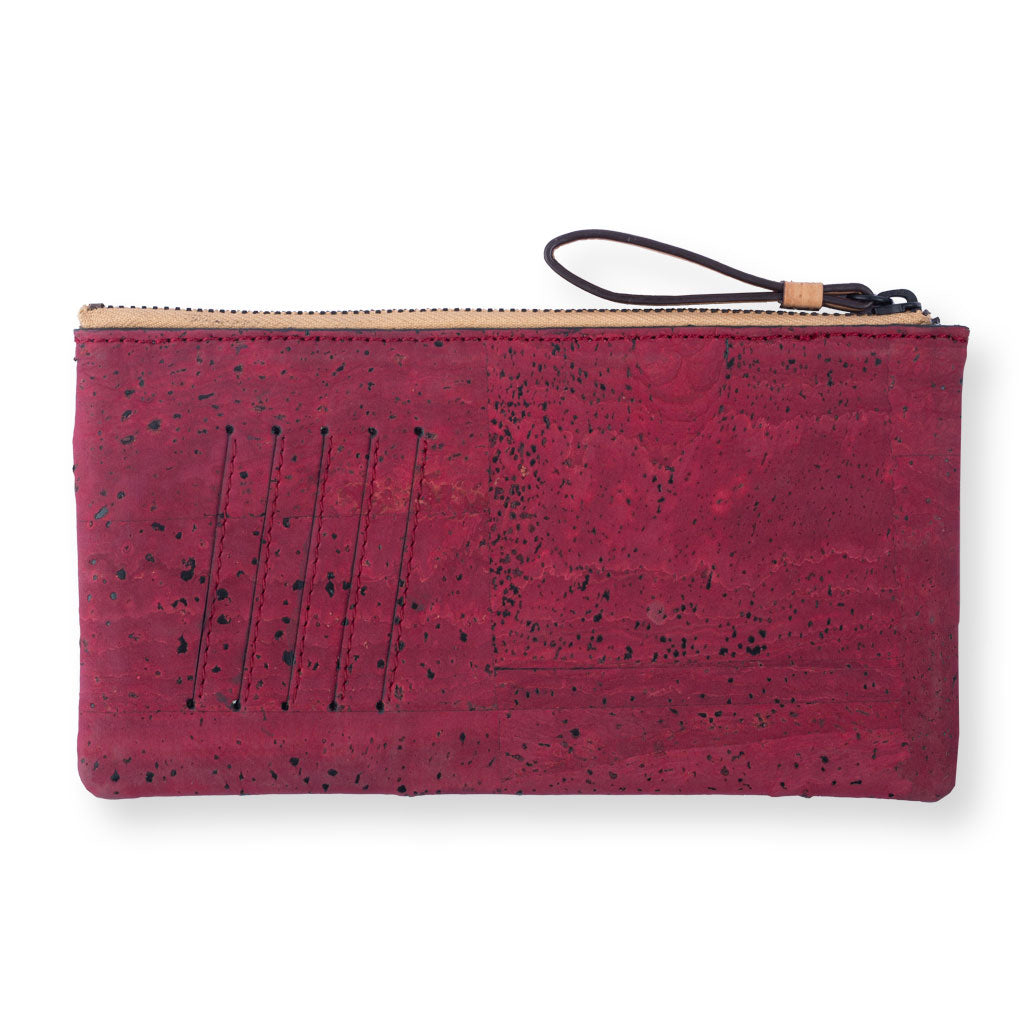 Slim Kim Minimal Wallet - Natural + Maroon