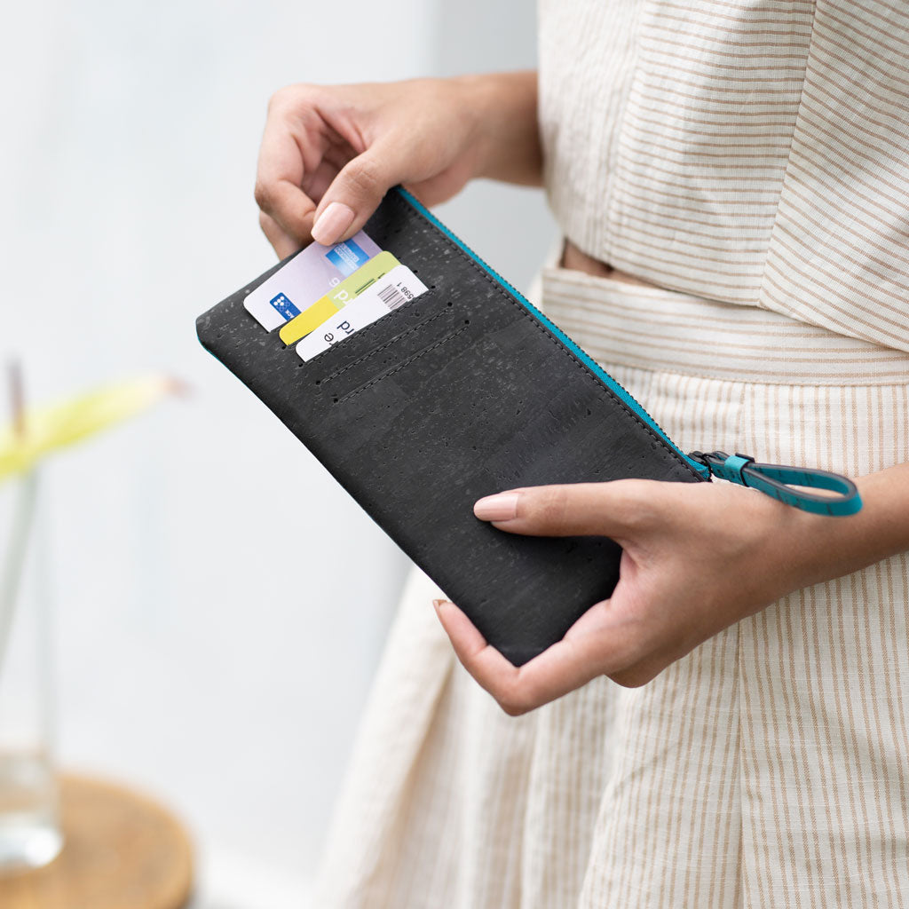 Slim Kim Minimal Wallet - Teal + Black