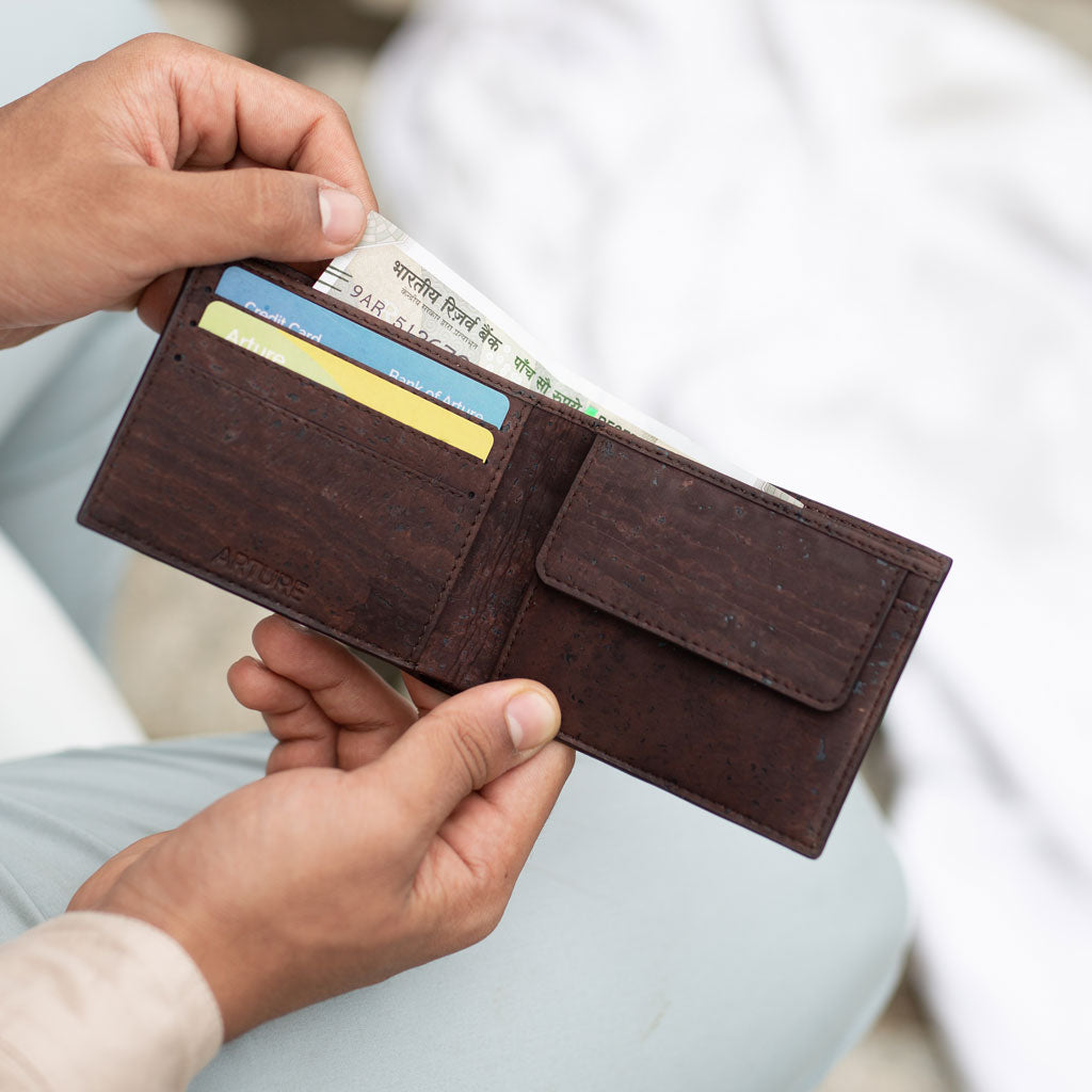 Clove Slim Coin Wallet - Terrain + Brown