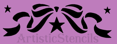 Ribbon Bow Stencil 8x2.5