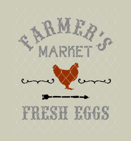 Farmer's Market Fresh Eggs Farmhouse Style Stencil 10x9.3