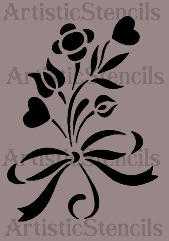 Flowers Tied with Ribbon Stencil 8x5.5