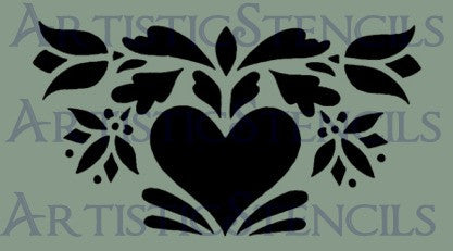 Heart and Flowers Motif Stencil 10x5.6