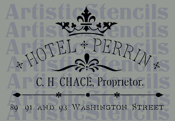 French Hotel Ad Stencil 11x16