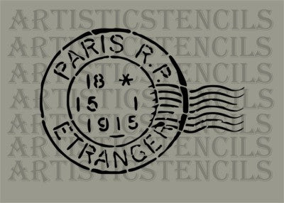 Vintage Paris Postage Stamp Stencil - Various sizes