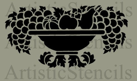 Bowl of Fruit Stencil 10x5