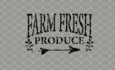 Farm Fresh Produce Stencil 10x6