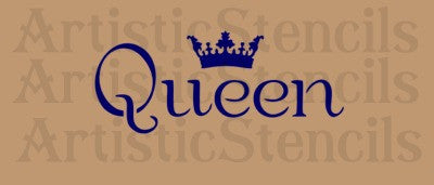 Queen with crown Stencil 10x4