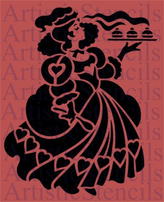 Queen of Hearts Stencil 10x8.1